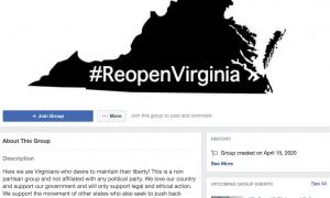 Anti-quarantine Facebook group for Virginia