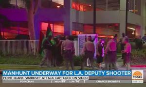 A screenshot from NBC's Today showing four or five protestors carrying red, black, and green flags, outnumbered by a small number of LA county sheriff's deputies