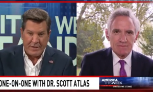 A screencapture of an America This Week segment with Scott Atlas