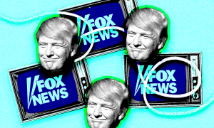 Trump with TV's tuned to Fox News
