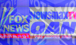 """""""VOTE"""" signs layered on top of logos for Fox News Channel, Newsmax TV, and One America News"""