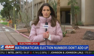 """OAN's Christina Bobb stands behind Chyron reading: """"Mathematician: election numbers don't add up"""""""