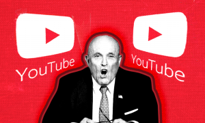 Rudy Giuliani sits between two YouTube Logos