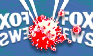 Fox News logo mirrored around a coronavirus molecule