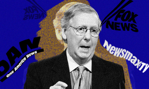 Mitch McConnell with Fox, Newsmax, and OAN logos