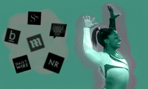 The logos for several right-wing media organizations hovering in a cloud next to Simone Biles smiling