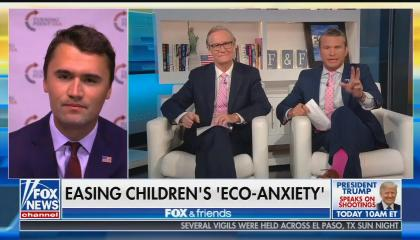 Charlie Kirk with Fox & Friends co-hosts Steve Doocy and Pete Hegseth