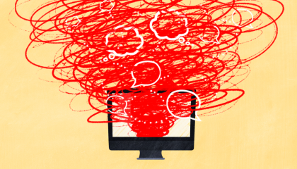 Image of computer screen with overlapping speech bubbles and scribbles