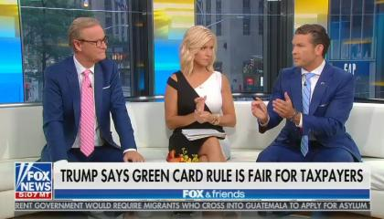 Fox & friends hosts on the couch defending the public charge rule