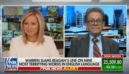 "Art Laffer and Sandra Smith criticizing Warren for invoking Reagan's ""nine most terrifying words"""