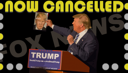 "Trump holding a picture of himself with the words ""Now Cancelled"" above him"