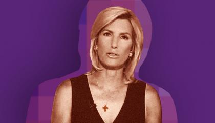 Laura Ingraham on a purple background