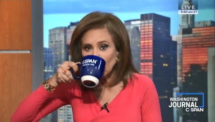 Jeanine Pirro sipping out of a mug