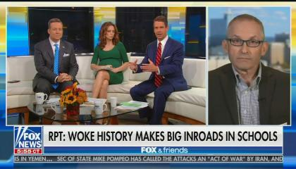"""Ed Henry, Jedediah Bila, and Griff Jenkins seated on the white couch on screen left, with guest John Murawski on screen right. Chyron reads: """"Report: Woke history makes big inroads in schools"""""""