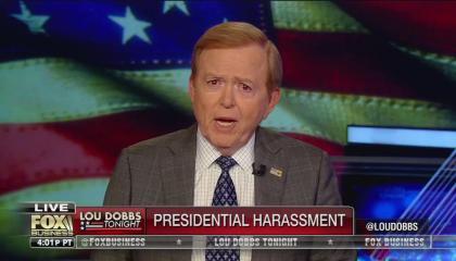 """Lou Dobbs, chyron reads, """"Presidential Harassment"""""""