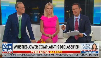 "Brian Kilmeade: ""The White House counsel says"" the compaint isn't urgent because the whistleblower is ""not a supporter of the president"""