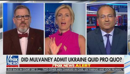 Laura Ingraham says Mick Mulvaney admitted to a quid pro quo because he's not a lawyer