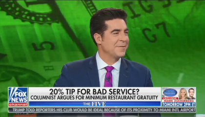 Jesse Watters explains to America that he doesn't tip