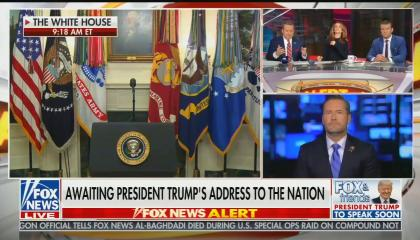 "Screen left a shot of an empty podium at the White House, top screen right is the three FOx & Friends SUnday hosts, and bottom screen right is Rep. Michael Waltz (R-FL.) Chyron reads ""Awaiting President trump's address to the nation"""