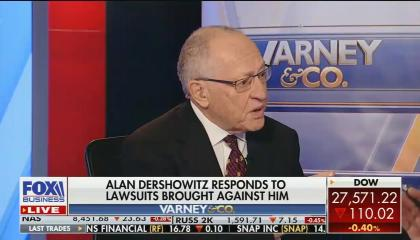 "Alan Dershowitz looking off-screen at Stuart Varney above a chyron reading ""Alan Dershowitz responds to lawsuits brought against him"""