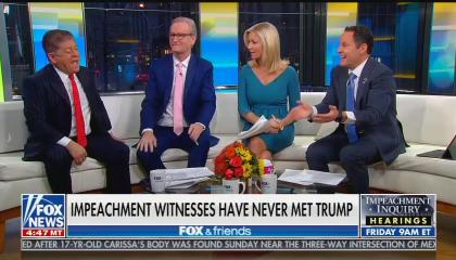 Fox & Friends co-hosts Steve Doocy, Ainsley Earhardt, and Brian Kilmeade with Fox News legal analyst Andrew Napolitano