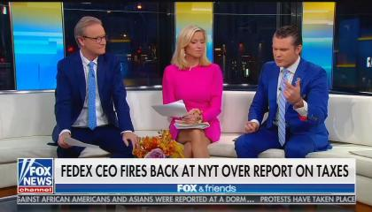 Fox & Friends co-hosts Steve Doocy, Ainsley Earhardt, and Pete Hegseth