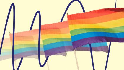Rainbow flags over a yellow background