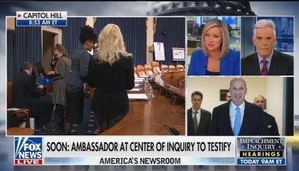 Split screens of Capitol Hill, a photo of Gordon Sondland, and Fox's Sandra Smith and John Roberts