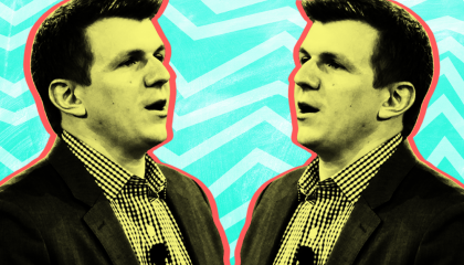 stylized mirror image of James O'Keefe