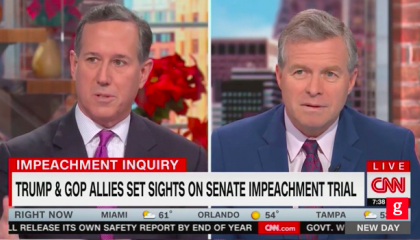 "CNN's Rick Santorum: ""Things go on that may be impeachable all the time when presidents talk"" to foreign leaders, but ""it doesn't rise to the level of impeachment"""