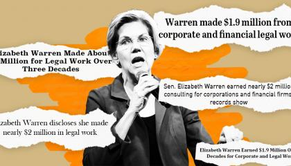 Elizabeth Warren standing in front of a few recent headlines