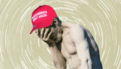 "A ""facepalm""-ing statue at Paris' Tuileries garden edited with a vertigo-esque background and a ""Make America Great Again"" hat."