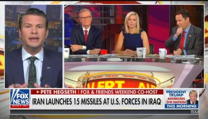 Fox & Friends Weekend co-host Pete Hegseth with Fox & Friends co-hosts Steve Doocy, Ainsley Earhardt, and Brian Kilmeade