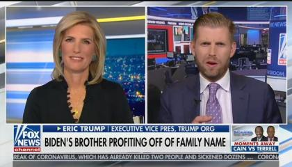 "Eric Trump tells Laura Ingraham his family got ""out of business"" after Donald Trump became president"