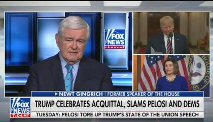 """Newt Gingrich saying Nancy Pelosi not introducing Trump properly is """"almost a declaration of war"""""""