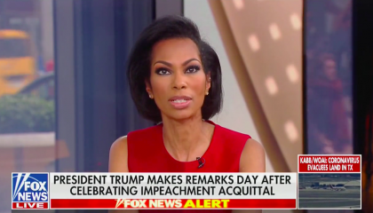 "Fox News anchor Harris Faulkner speaking above a chyron reading ""President Trump Makes Remarks Day After Celebrating Impeachment Acquittal"""