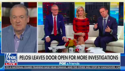 "Mike Huckabee screen left via satellite in front of a US flag background, with the Fox & Friends hosts seated in studio on screen right. Chyron reads ""Pelosi Leaves Door Open For More Investigations"""