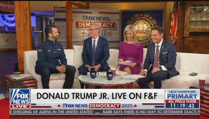 "From left to right: Donald Trump Jr, Steve Doocy, Ainsley Earhardt, and Brian Kilmeade. Chyron reads ""Donald Trump Jr. Live On F&F"""