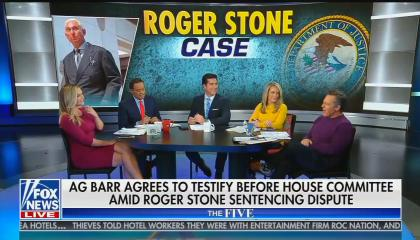 "The co-hosts of The Five, Katie Pavlich, Juan Williams, Jesse Watters, Dana Perino, and Greg Gutfled sit on set with chyron reading: ""AG Barr agrees to testify before House committee amid Roger Stone sentencing dispute"""
