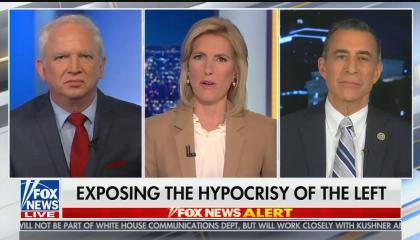 "Panel on The Ingraham Angle featuring John Eastman, host Laura Ingraham, and Darrell Issa, chyron reads: ""Exposing the hypocrisy of the left"""