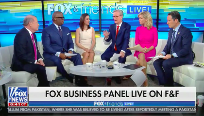 """Fox Business hosts Stuart Varney, Charles Payne, and Jackie DeAngelis sharing the curvy couch with Steve Doocy, Ainsley Earhardt, and Brian Kilmeade during a live studio audience episode. Chyron reads """"Fox Business Panel Live On F&F"""""""