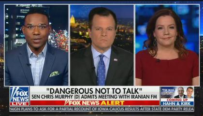 """Fox News contributor Richard Fowler on screen left, Fox reporter and guest anchor Mike Emanuel in the center, and Fox contributor Mollie Hemingway on screen right. Chyron reads """"'Dangerous Not To Talk': Sen Chris Murphy (D) Admits Meeting With Iranian FM"""""""
