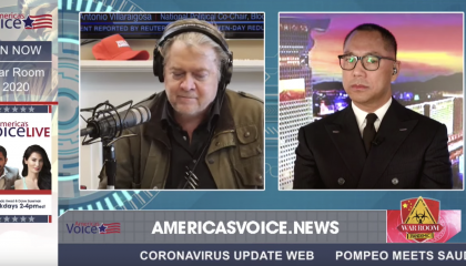 War Room: Pandemic host Steve Bannon (left) hosts his patron Guo Wengui (right) on 2/21