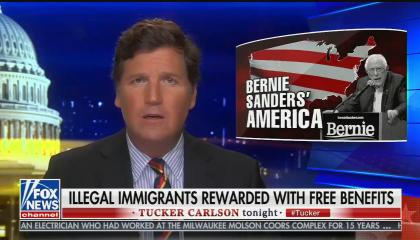 "Tucker Carlson hosting his show, chyron reads: ""Illegal immigrants rewarded with free benefits"""
