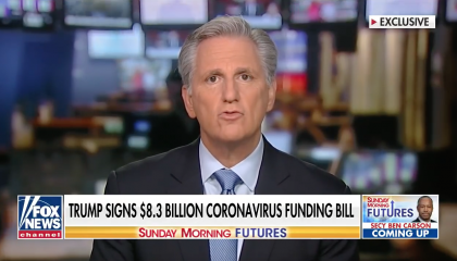 House Minority Leader Kevin McCarthy (R-CA) speaks to Fox Business about Congress' coronavirus spending bill