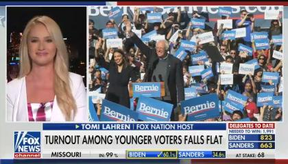 "Fox Nation host Tomi Lahren smiling on screen left, with an image of Sen. Bernie Sanders and Rep. Alexandria Ocasio-Cortez at a Sanders 2020 rally on screen right. Chyron reads ""Turnout among young voters falls flat"""