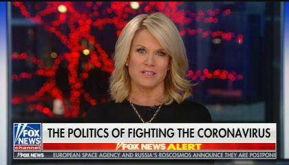 "Martha MacCallum hosting show with chyron that reads: ""The politics of fighting the coronavirus"""