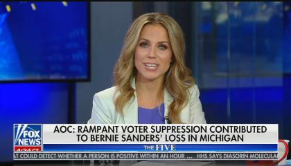 """Dr. Nicole Saphier on The Five, chyron reads: """"AOC: Rampant voter suppression contributed to Bernie Sanders' loss in Michigan"""""""
