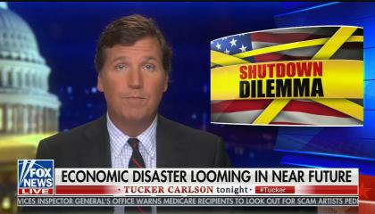"Tucker Carlson, chyron reads: ""Economic disaster looming in near future"""