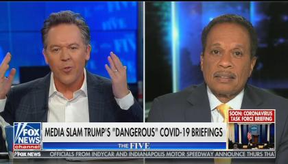 "Split screen of Greg Gutfeld and Juan Williams on The Five, chyron reads: ""Media slam Trump's ""dangerous"" COVID-19 briefings"""